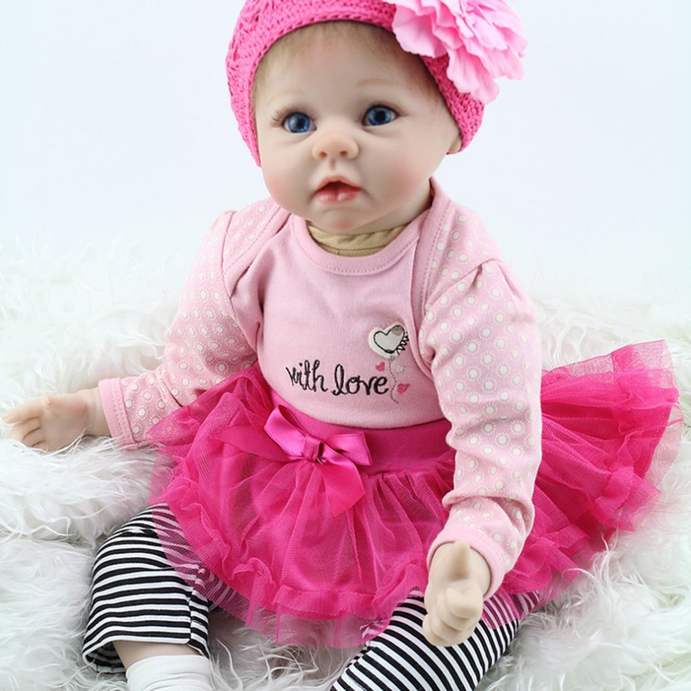 55cm Reborn Baby Doll Girls Playmate Non-toxic Safe Cloth Body Soft Silicone Vinyl Newbron Baby Doll Toys Children Play Gift