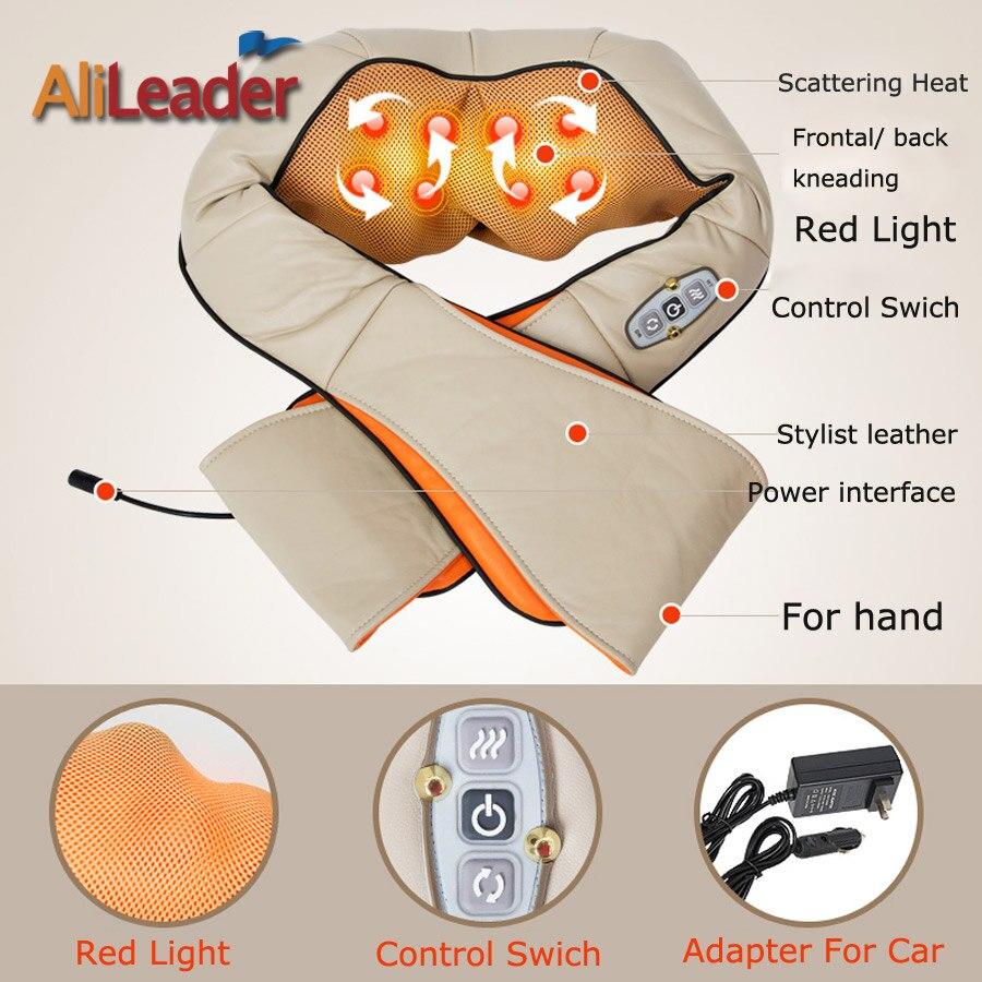Alileader Comfortable Portable Massage Pillow 8 Massage Heads With Warm Heat For Back Neck Shoulder Abdomen Cellulite Massager - 3