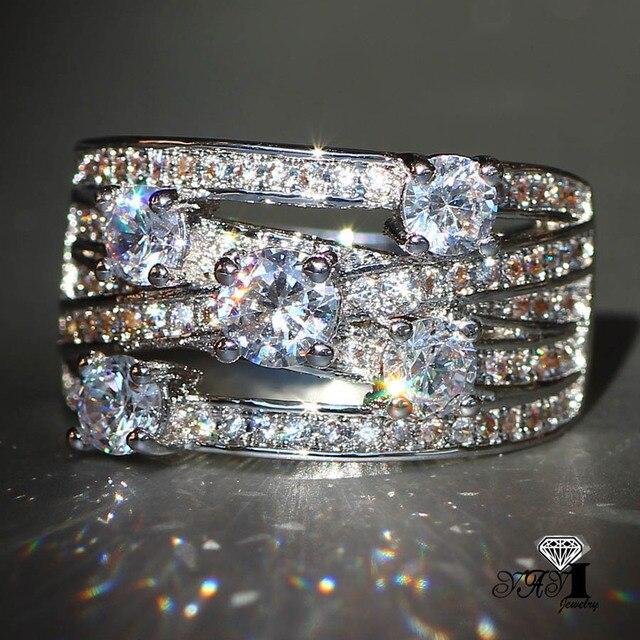 YaYI Jewelry Fashion Princess Cut 3.9CT White Zircon Silver Color Engagement Rin