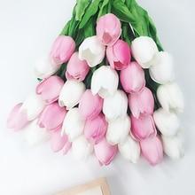 31pcs/Lot Mini PU Tulip Artificial Flowers Wedding Decor Bride Bouquet Real Touch Flowers For Home Wedding Party Decorative