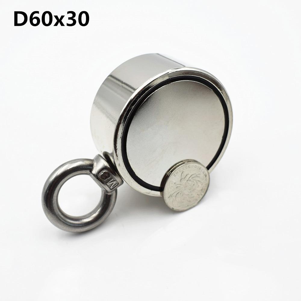 1 unid D60mm salvamento imán de neodimio super potente Circular anillo gancho 200 kg pesca soporte permanente de doble cara imán