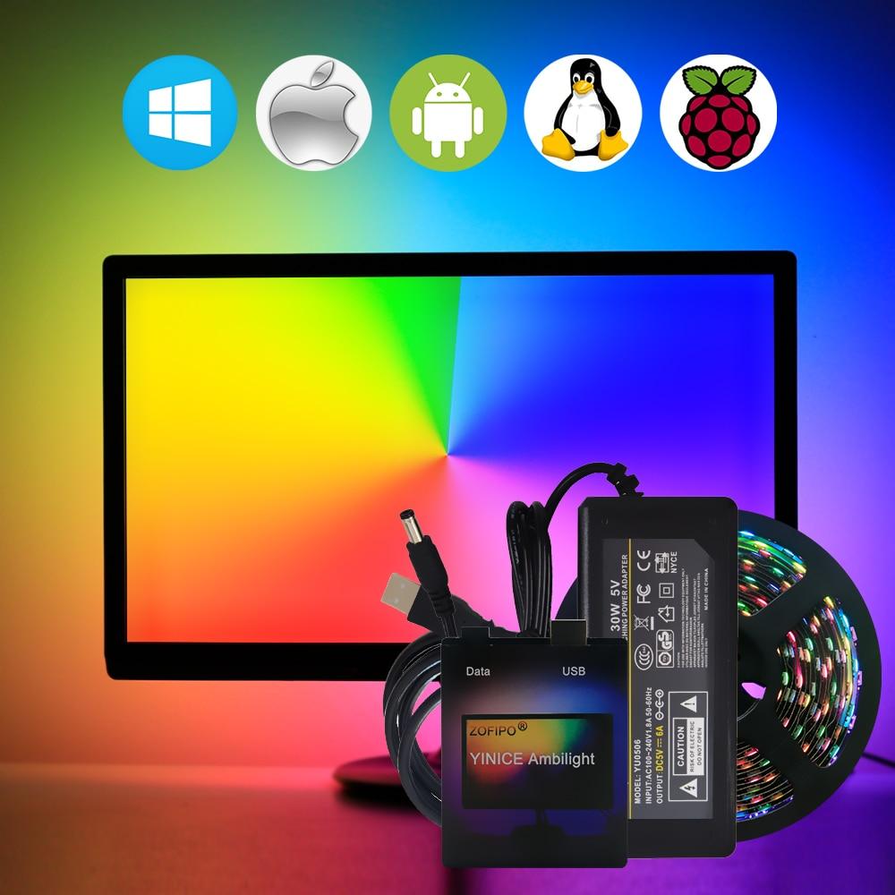 Ambilight USB WS2812B LED Strip light HDTV TV Monitor Desktop PC Screen Backlight lighting ws2812 Pixel Tape Ribbon 1M~ 5M
