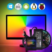 Ambilight USB WS2812B Светодиодные ленты свет HD ТВ монитор Настольный ПК Экран тыловая подсветка ws2812 Pixel Лента 1 м ~ 5 м
