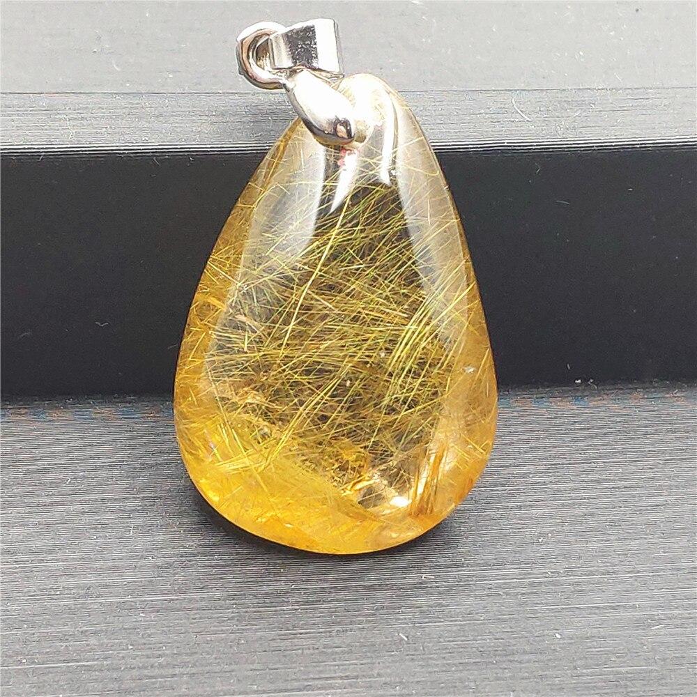 Natural Gold Rutilated Quartz Pendant (4)