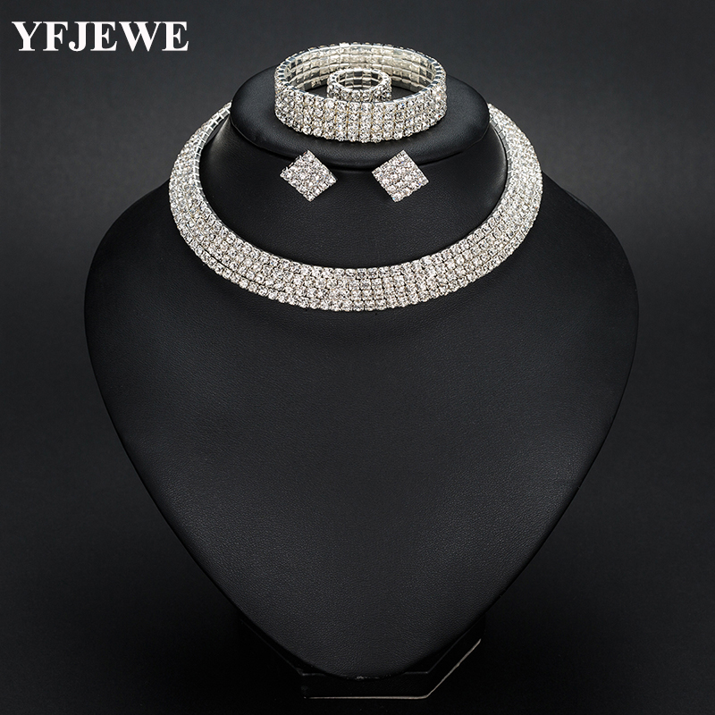 YFJEWE Bride 1-5 Row Classic Rhinestone Choker Necklace Earrings and Bracelet Wedding Jewelry Sets Wedding Accessories N387