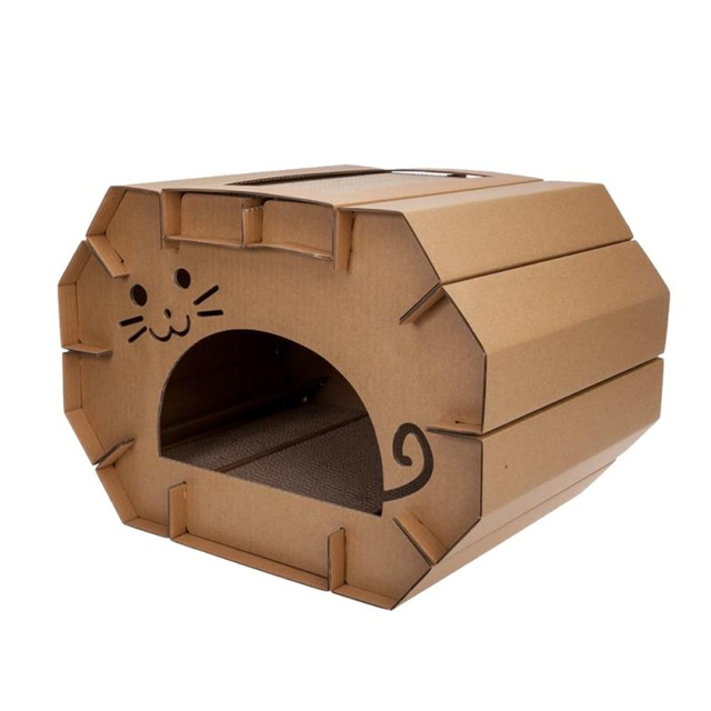 Cat Folding Nest House Scratcher Pet Paper Made Of Corrugated Scratching Plate Pad Toys