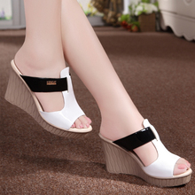 summer Genuine Leather High Heels Platform sandal women slippers sy-1421