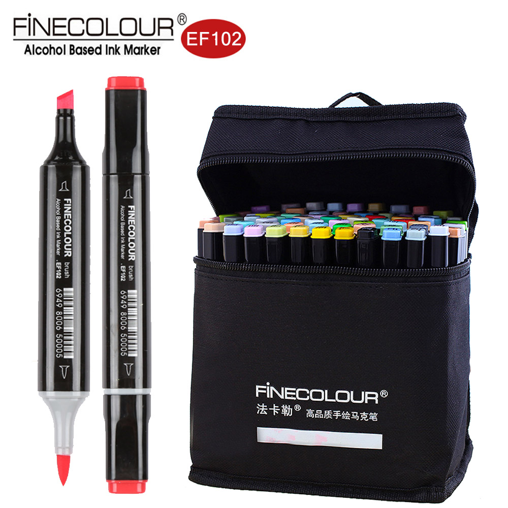 Finecolour EF102 Double-Ended 72 Colors Brush Pen Art Markers Professional For Arts Sketch Coloring Painting Manga And Design