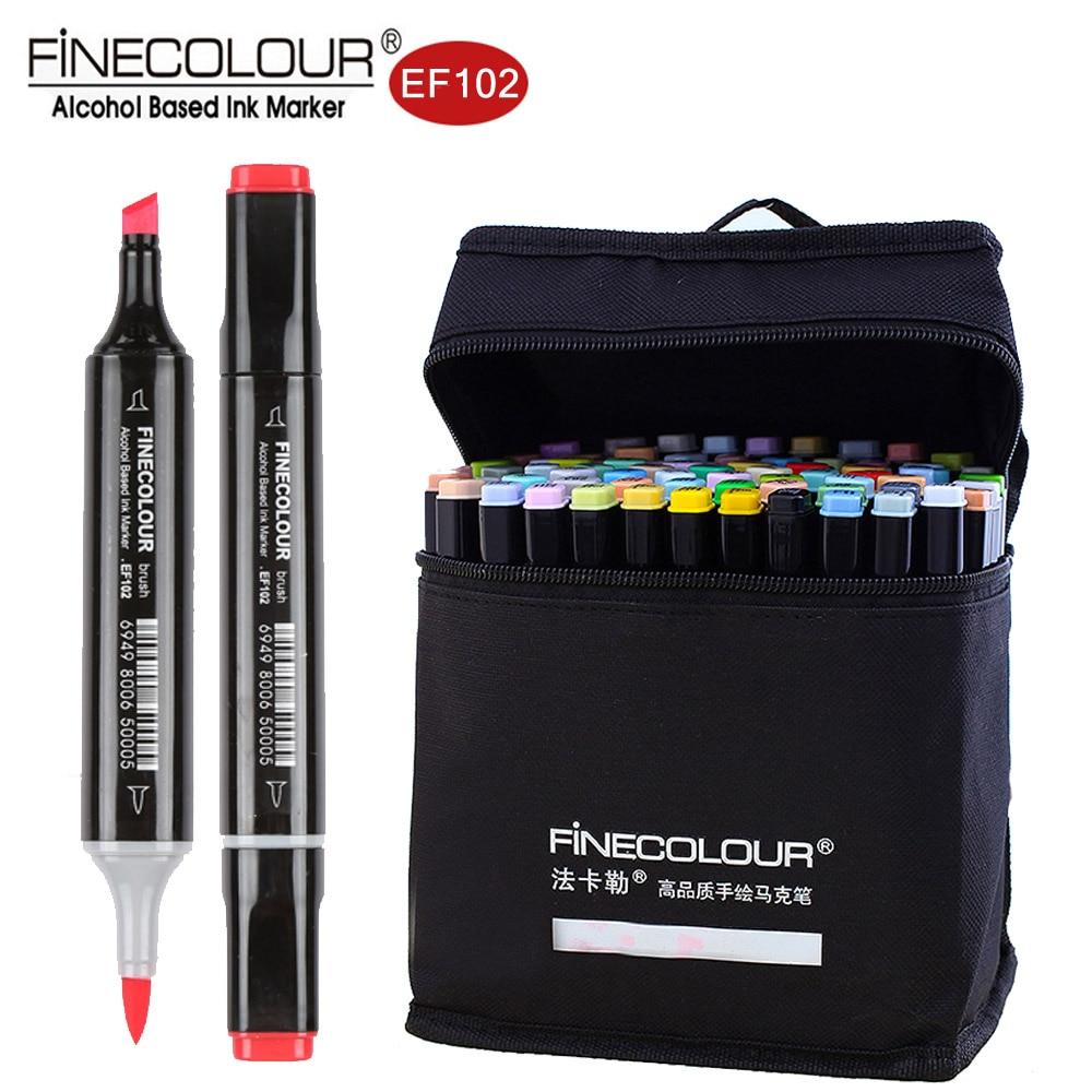 Finecolour EF102 Double-fini 72 couleurs pinceau stylo marqueurs d'art professionnel pour Arts croquis coloriage peinture Manga et Design
