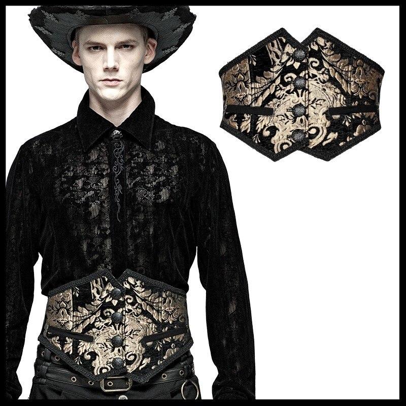 PUNK RAVE hommes magnifique Court rétro Cummerbunds brodé sculpté gothique ceinture hommes scène effectuer accessoires en tissu