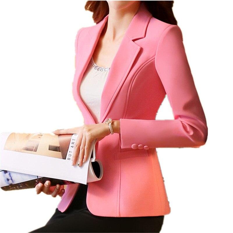 Пиджак на одной пуговице, женский пиджак, Женская офисная одежда, повседневная куртка, розовый блейзер, Feminino, весенняя куртка, S 4XL TT2090