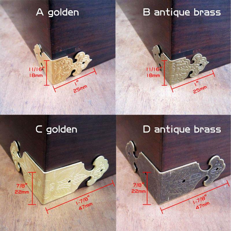 12pcs Decor Flower Silvery Golden Jewelry Box Chest Gift Wooden Case Book Menu Scrapbook Photo Album Furniture Corner Protector
