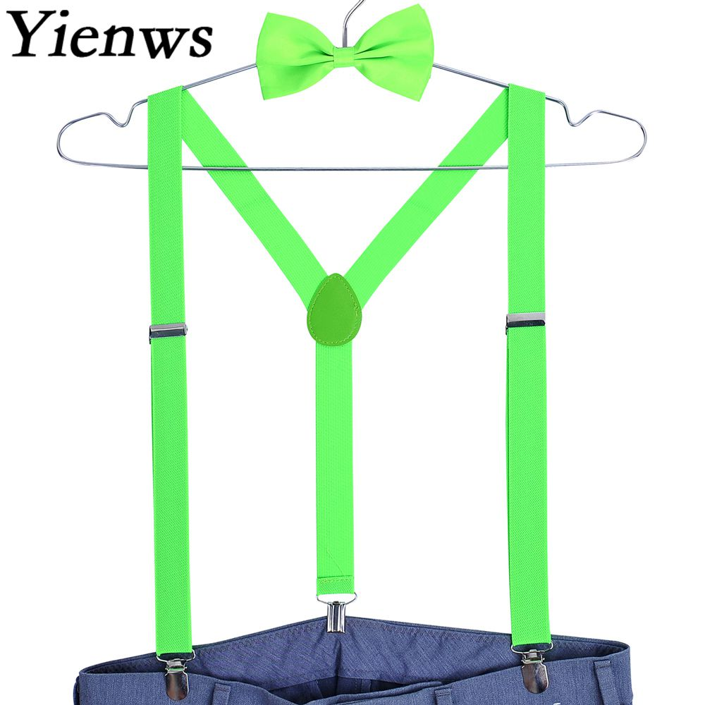 Yienws Bretels Mannen Men Suspenders For Pants Bowtie Braces For Women Wedding Light Bow Tie Suspensorios Masculinos YiA078