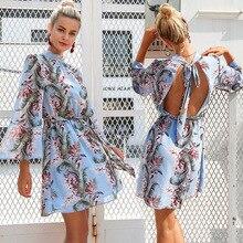 YTNMYOP платье с рукавами-трубами, летние модные платья с принтом, Осеннее синее платье с рукавом три четверти, сексуальное платье с поясом и открытой спиной