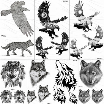 OMMGO Bald Eagle Tribal Temporary Tattoos Sticker Custom Tattoo Black Men Fashion Body Art Arm Fake Tatoos Small Galaxy Moon image