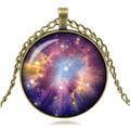 Cheap Sale Galaxy Art Picture Pendant Necklace Glass Cabochon Necklace Antique Bronze Choker Necklace Woman Jewelry