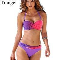 Trangel Bikini Bandeau 2018 Women Push Up Swimwear Swimsuit Gradient Color Bathing Suits Brazilian Bikini Set