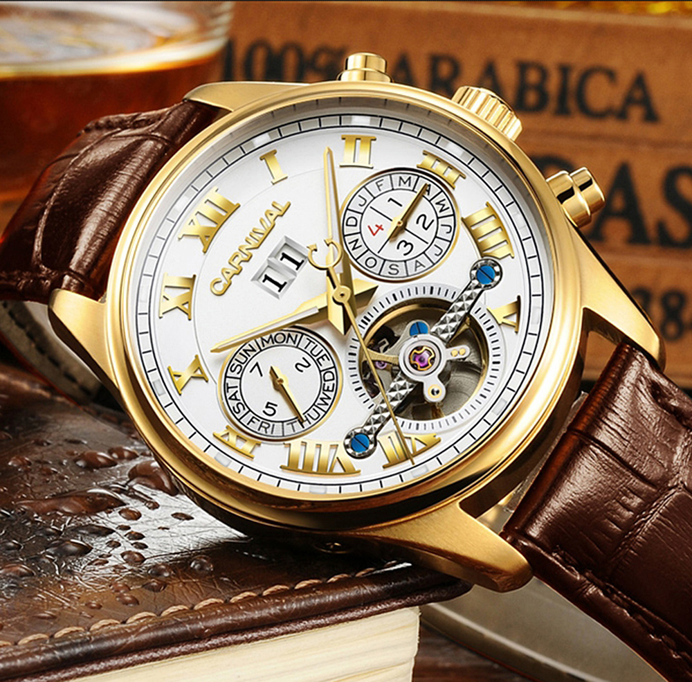 Luxury Gilded Watch Men Automatic Self-Wind Sapphire Glass Tourbillon White Dial Brown Leather Band Watches reloj relogio 7728 ultra luxury 2 3 5 modes german motor watch winder white color wooden black pu leater inside automatic watch winder