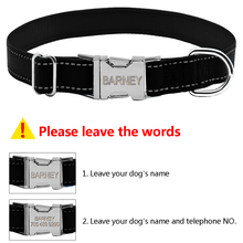 Nylon Personalised Reflective Engraved Dog Collar