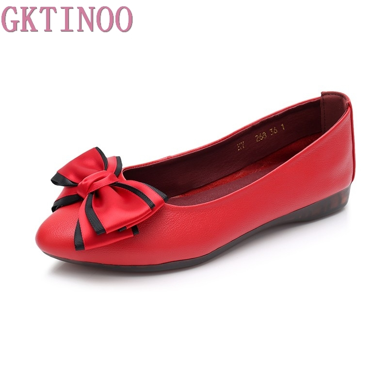 GKTINOO Bow Pointed Toe Slip-on Women Ballet Flats Fashion Genuine Leather Women Flat Shoes Ballerinas Ladies Casual Flats ladies shoes fashion rhinestone bow women flats spring slip on loafers women pointed toe flat shoes waman black brown flats