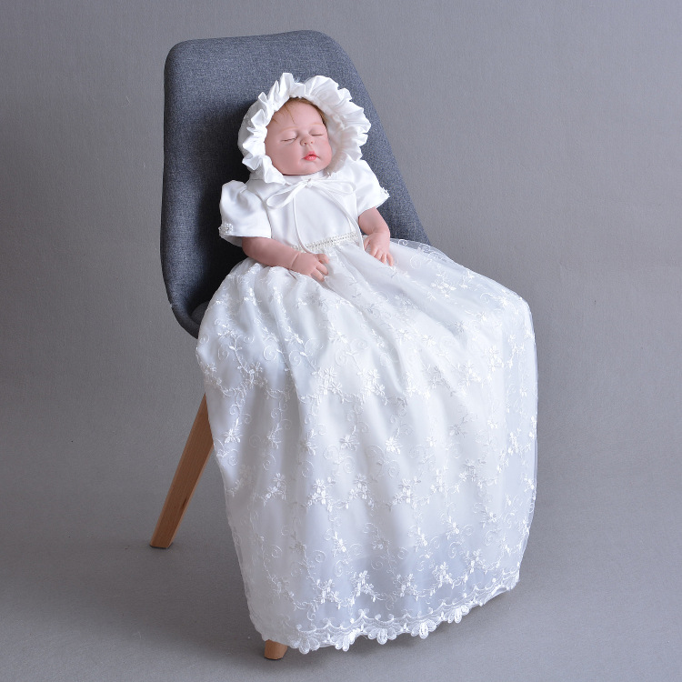 New Baby Girls Christening Gowns Baptism Long Trailing Lace Dress Princess Birthday Party Wear infantil costumes White Ivory цена 2017