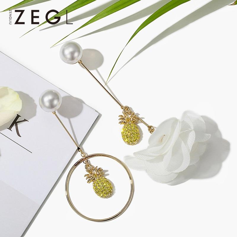 ZEGL asymmetric pineapple earrings female flower style pendant Korean temperament pendant with earringsZEGL asymmetric pineapple earrings female flower style pendant Korean temperament pendant with earrings