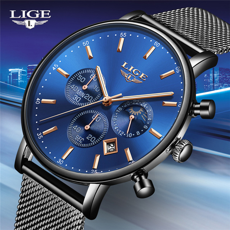 LIGE Fashion Men Watches Male Top Brand Luxury Quartz Watch Men Casual Slim Dress Waterproof font