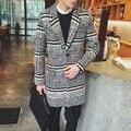 2016 Otoño invierno estilo de Inglaterra Retro chaquetas hombres de la capa Larga sección de lana Pata de Gallo collar traje casual abrigos de Lana de los hombres, M-XXL
