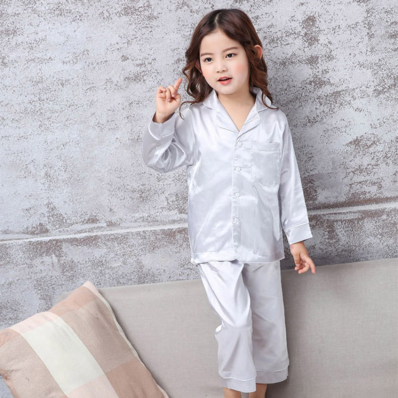 Super Soft Boys and Girls Home Wearing Cotton Silk Pajamas Solid Two-piece Suits Long Johns Buttons Suits cami satin two piece summer pajamas