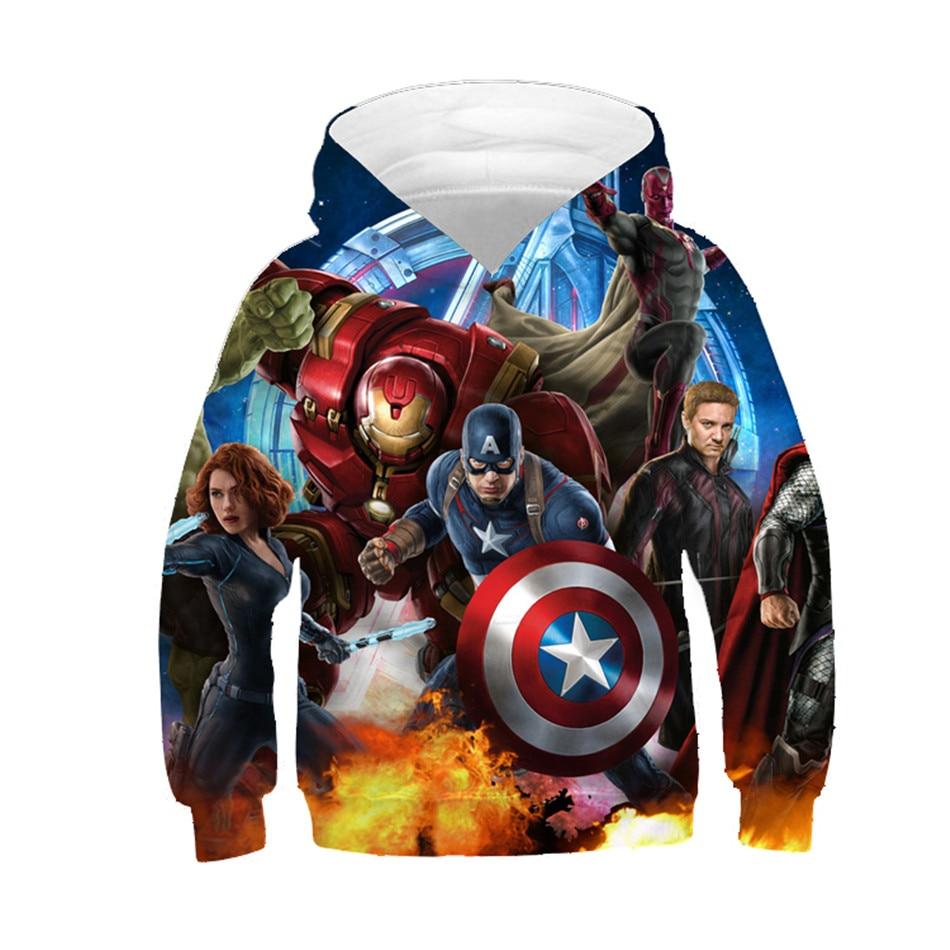 2019 fille/garçon Avengers sweat à capuche bébé enfants Cool 3d Sweatshirts enfants Super héros pulls hauts bébé marque vêtements 4-11y
