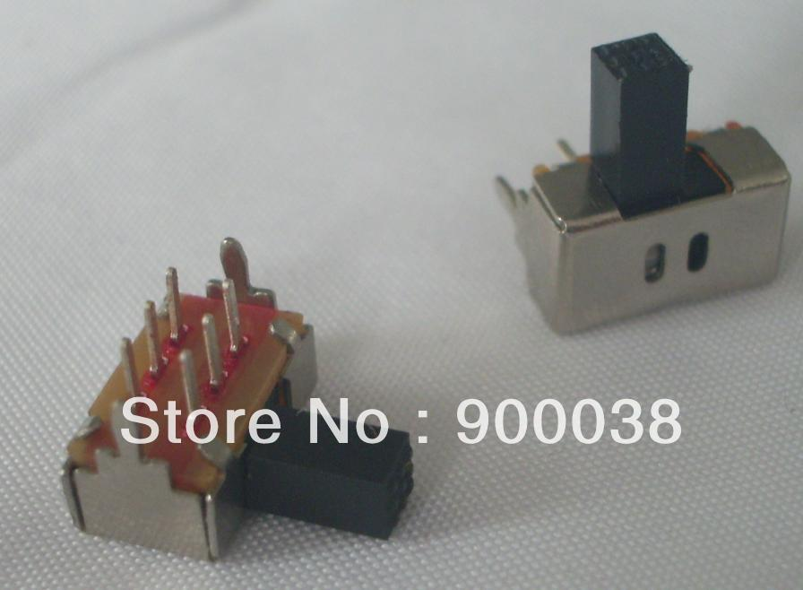 Slide Switch DIP type right angle 6pin dual 2P2T Height 6mm SK-22D02G6 ROHS Free shipping by UPS 1000pcs