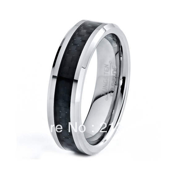 FREE SHIPPING!USA WHOLESALES CHEAP PRICE BRAZIL RUSSIA CANADA UK HOT SELLING 8MM BLACK CARBON FIBER BRIDALTUNGSTEN WEDDING RING