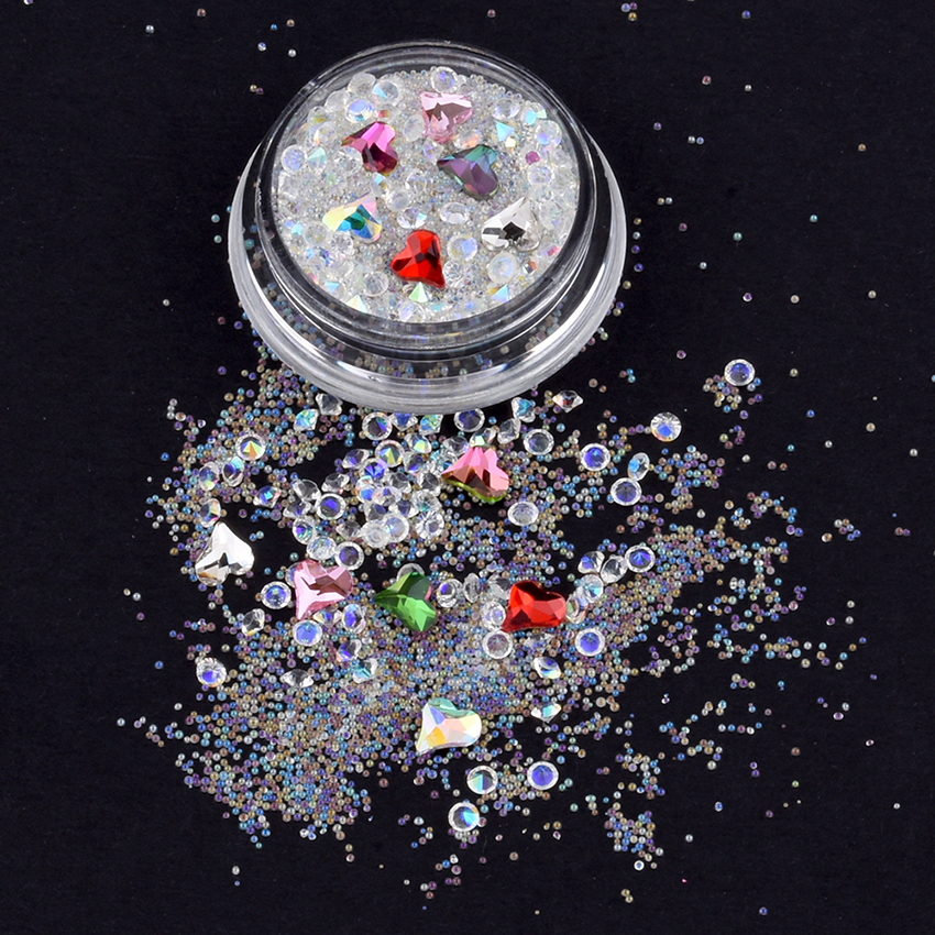 1 box crystal nail art studs and rhinestones pointed back rhinestone flatback charms mix nail jewels caviar beads supply YST21