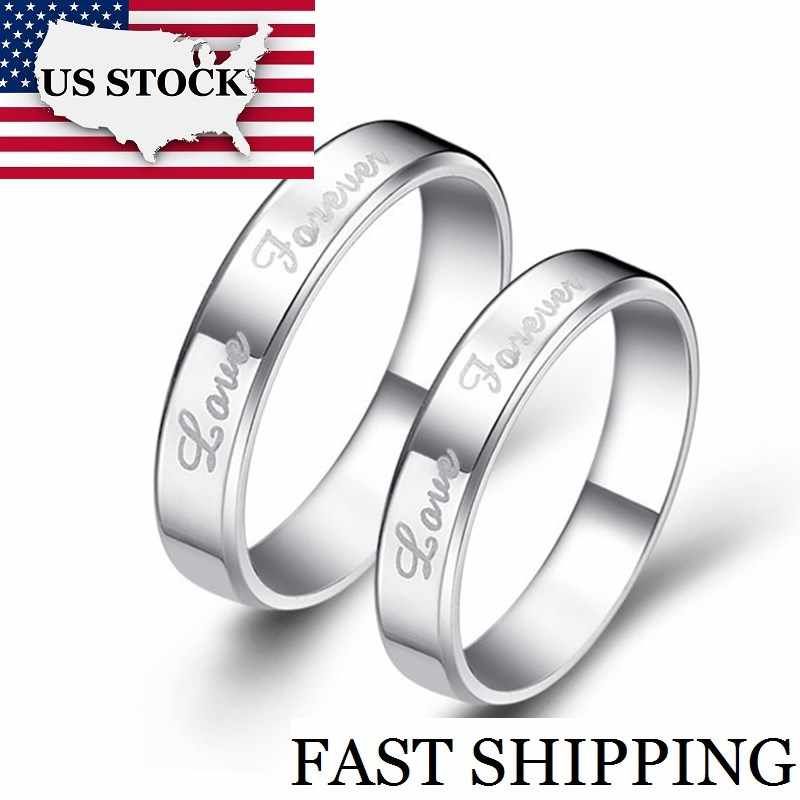 cc755fc6a2 USA STOCK Uloveido 2Pcs Forever Love Couple Engagement Ring for Lovers Pair  His Her Wedding Rings