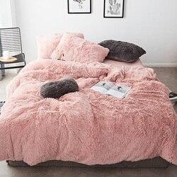 Rosa Blanco de tela de lana de invierno gruesa 20 Color puro ropa de cama conjunto de visón de terciopelo funda nórdica hoja de cama ropa de cama fundas de almohada 4/6 piezas