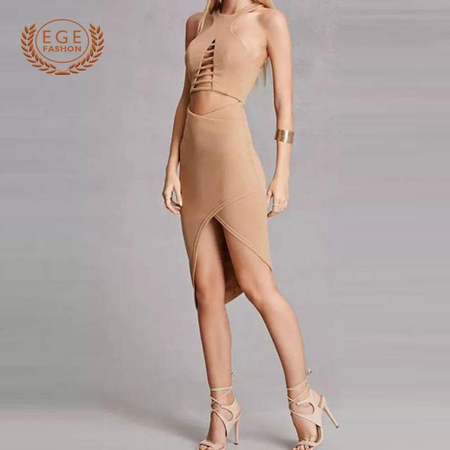 Sexy tights and wrap-around wrap-around dresses, 2018 stretch knit club dresses, sleeveless forked open back party dresses