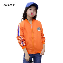 OLOEY 2019 New Girls Jacket Childrens Baseball Uniforms Jackets Spring And Autumn Coats 3-13 Years Fashion Casual