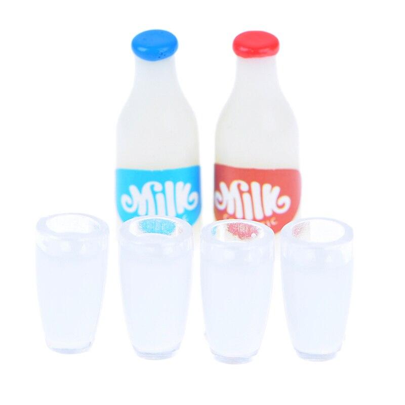 New 2PCS Milk Bottles+4Pcs Milk Cup Breakfast 1:12 Miniature Food Dollhouse Kitchen Accessories