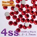 Free Shipping Nail Art  Rhinestone Siam SS4(1.5--1.6mm) 1440pcs/pack Non Hotfix Flatback Crystal Stones