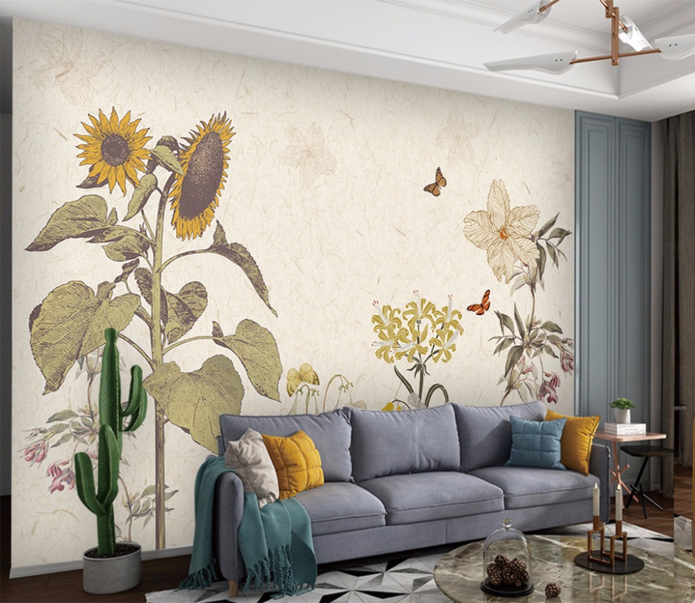 Bacaz flower mural wallpaper 3d paint hand sunflower photo - Flower wallpaper mural ...