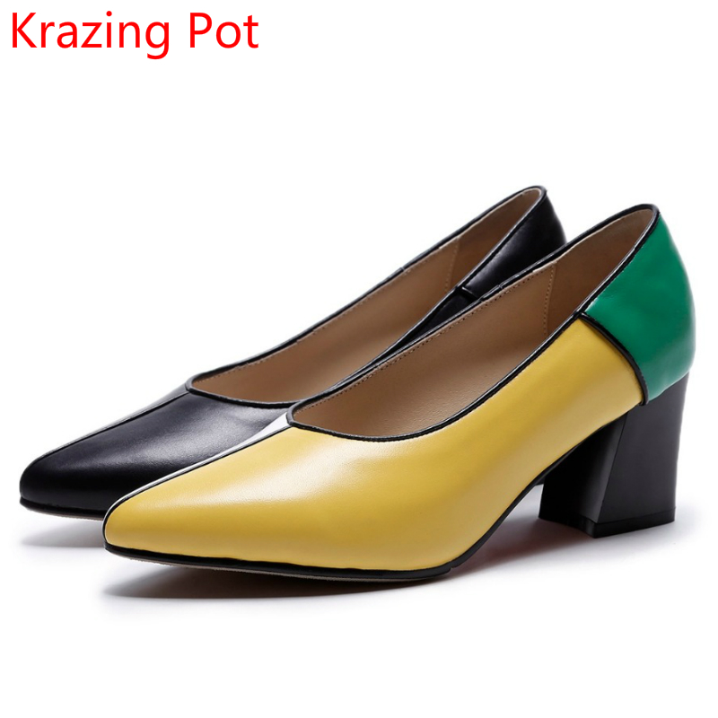 2018 New Arrival Mixed Colors Cow Leather Shallow Brand Autumn Shoes Med Heels Women Pumps Pointed Toe Slip on Party Shoes L69 women genuine leather slip on pointed toe lazy shoes sweet bow knot shallow party spring autumn women pumps black pink