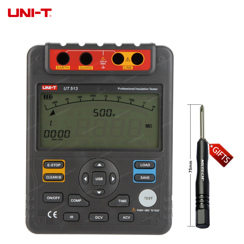 DHL free shipping UNI T UT513 Insulation Resistance Testers Meter Megohmmeter Voltmeter Auto Range 5000V 1000 w/USB Interface