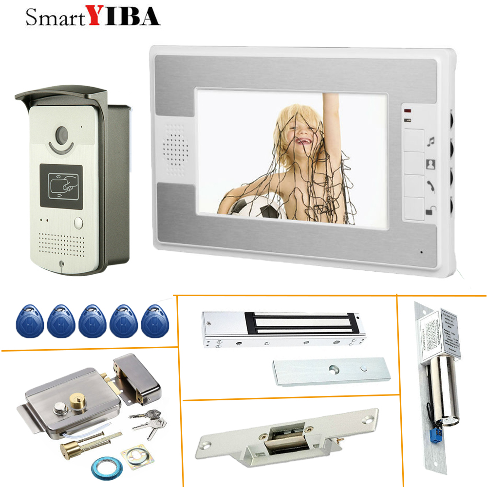 SmartYIBA Door Intercoms for Private Homes RFID Access Video Intercom with Lock Video Entryphone + Electronic Door Exit NC Lock
