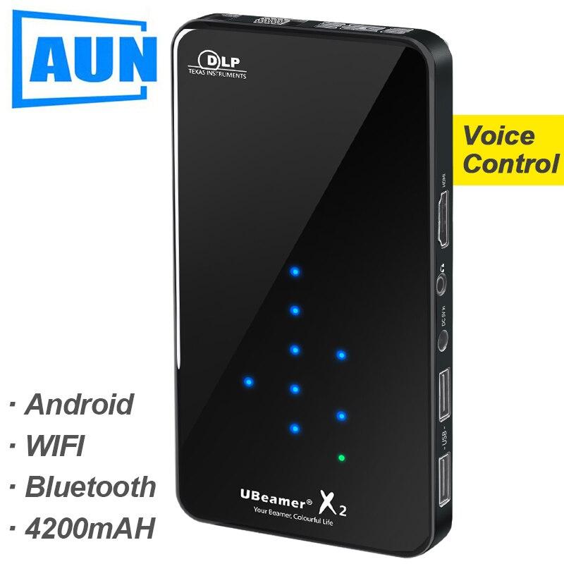Аун мини-проектор X2, WI-FI Android Touch Управление (опционально голос Управление, Оперативная память: 2G Встроенная память: 16G) Поддержка 1080 P, Портати...