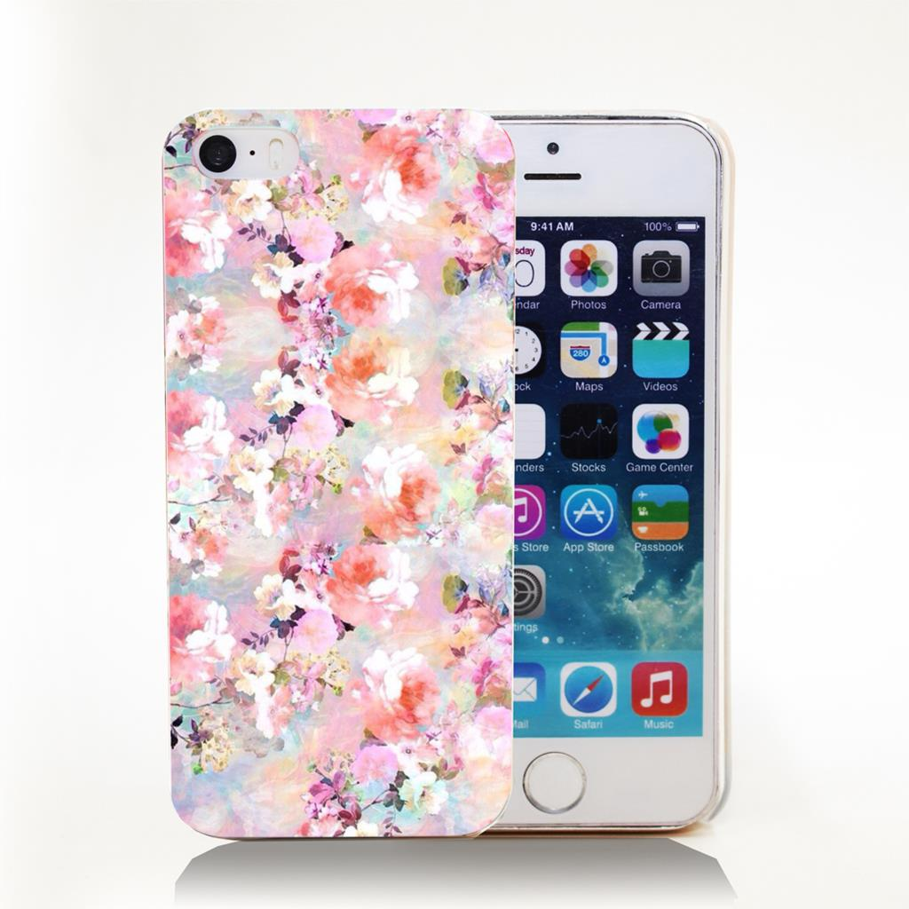 Pink vintage floral Hard Transparent Cover Case for iPhone 4 4s 5 5s 5c 6 6s Protect Phone Cases