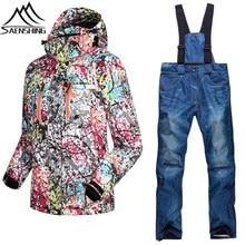 Фотография SAENSHING Ski Suit Women Winter Skiing Jacket + Pants Thermal Thicken Snow Sportswear Waterproof Breathable Snowboard Sets