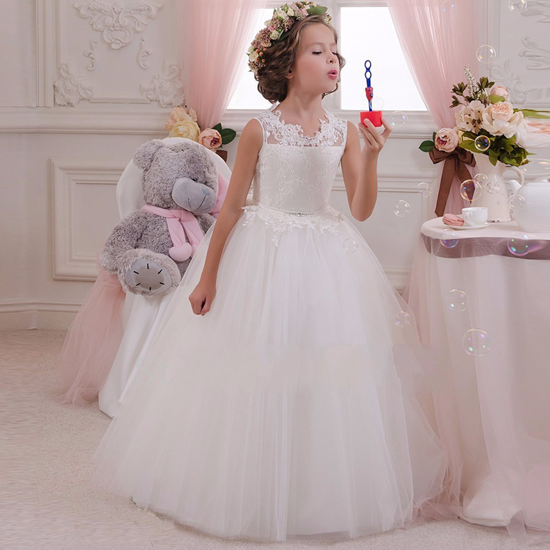 Retail High Quality Embroidery   Flower   Neck Elegant   Girls   Wedding   Dress   With Bow Rhinestone Belt   Girls   Party Long   Dress   LP-63