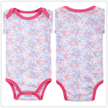 Autumn 1 Piece Cotton Style Baby Girl Boy Clothes Short Sleeve Flower New Born Body Baby Ropa Print Pink Baby Bodysuit r032