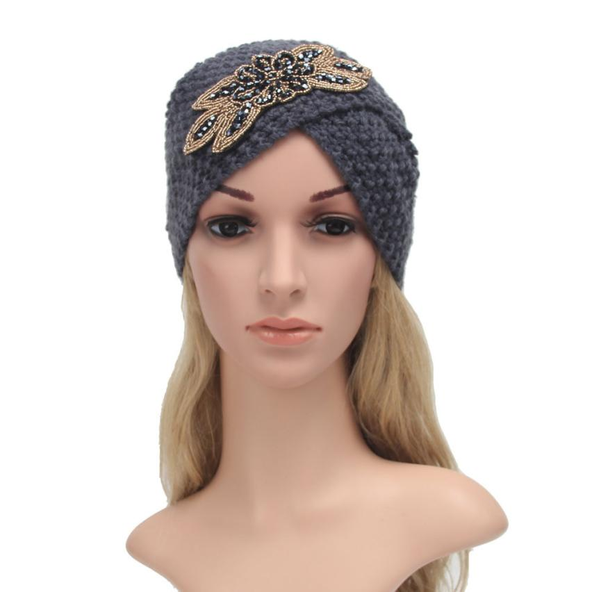 # Vestido 2019 Fashion Korean Warm Winter Knit Crochet Women Hat Cap Braided Casual Turban Headdress Cap17