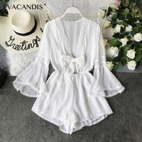 White Lace Short Women Jumpsuit Hollow Out Bow Korean Beach Boho Chiffon Sexy V Neck Summer Long Sleeve Rompers Black Jumpsuit